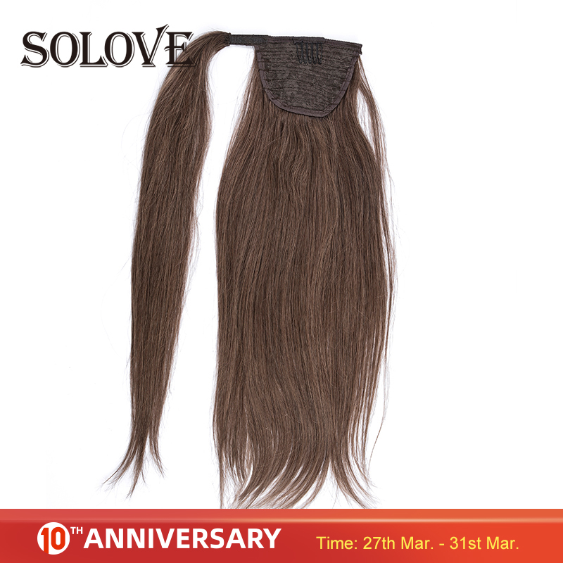 120g Ponytail Human Hair Machine Remy Straight European Ponytail Hairstyles 100% Natural Hair Clip In Extensions