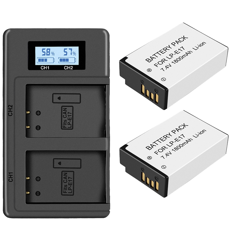 2Pc Lp-E17 Battery+Lcd Usb Dual Charger for Canon Eos 200D M3 M6 750D 760D T6I T6S 800D 8000D Kiss X8I Cameras