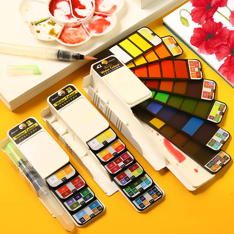 Solid Watercolor Paint Set With Water Brush Pen Foldable Travel Water Color Pigment For Draw Dropshipping 18/25/33/42 Colors