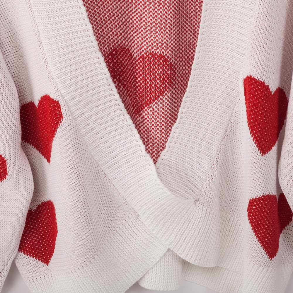 Giá Rẻ Đà Điểu Plus Size Nữ Trái Tim In Hình Vòng Tròn Cổ Chéo Hở Lưng Áo Thun Cổ Áo Len Mùa Thu Và Mùa Đông áo Len
