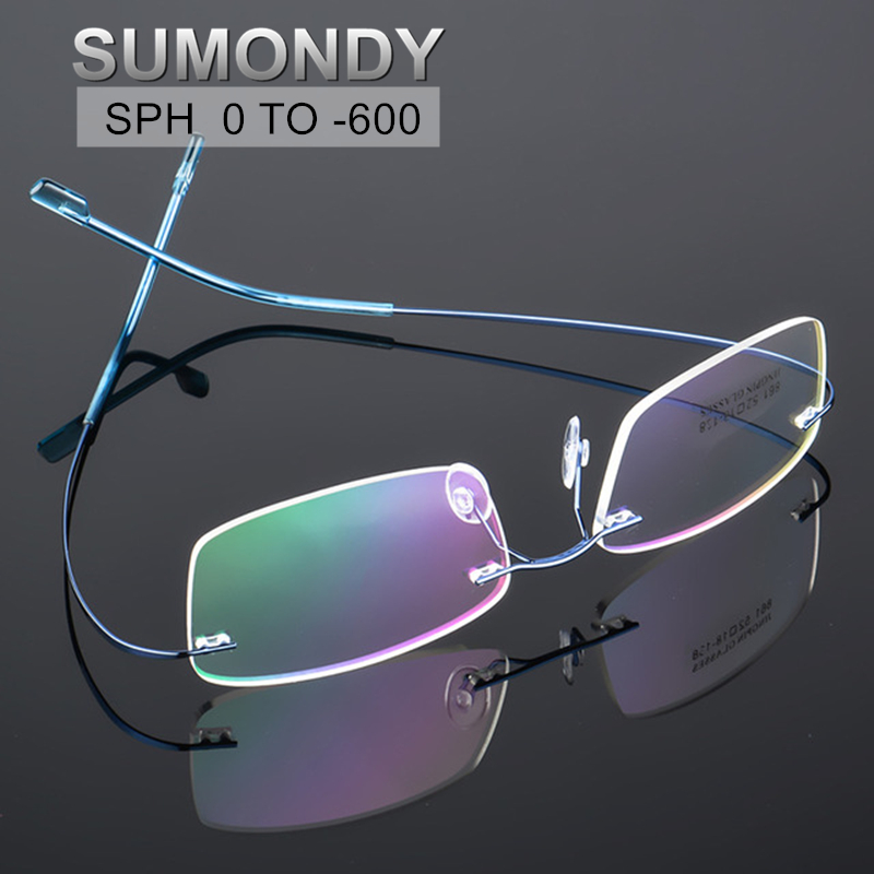 SUMONDY Rimless Prescription Glasses For Myopia Dioptre 0 To -6.0 Men Women Titanium Alloy Blue Light Blocking Spectacles UP024