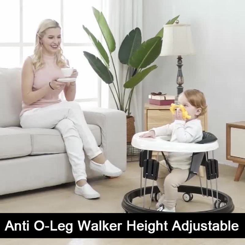 Baby Walkers With Wheel Baby Walk Learning Foldable Multifunction Anti-Roll Anti O-Leg Walker Height Adjustable Seat Chair