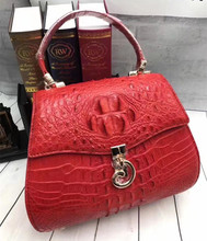 Authentic Real Crocodile Skin Lady Saddle Purse Genuine Alligator Leather Female Small RED Handbag Women Crossbody Shoulder Bag
