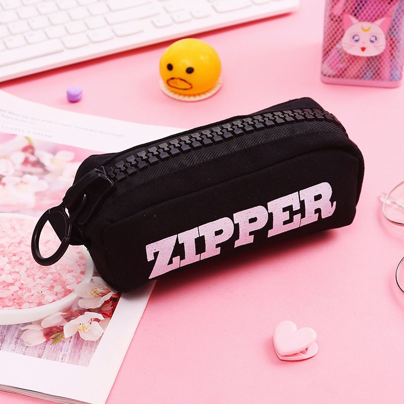 Creative Big Zipper Pencil Case Canvas High-capacity Pen Bag School Stationery Supplies