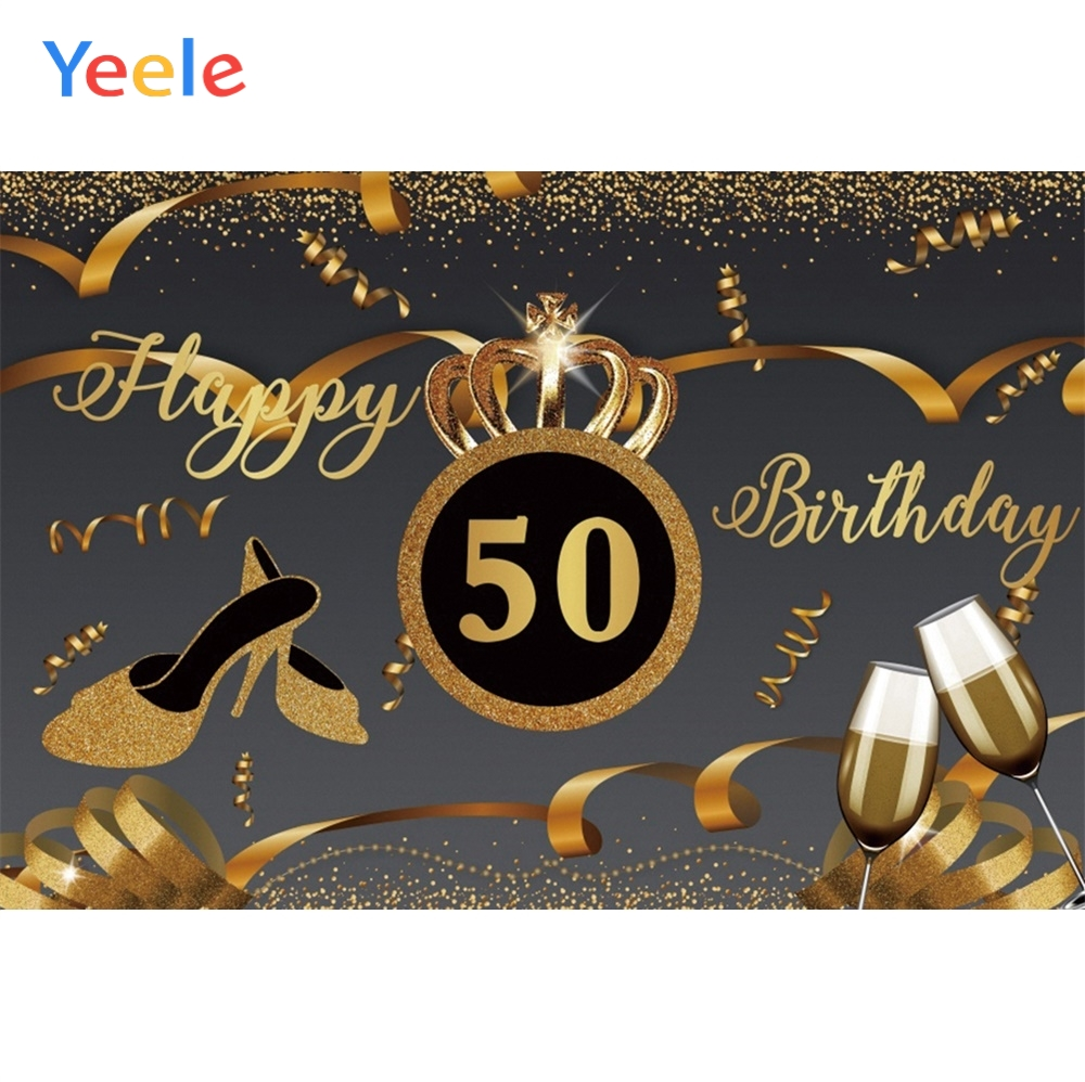 Yeele <font><b>Happy</b></font> <font><b>50th</b></font> <font><b>Birthday</b></font> Wine Glass Crown Ribbons Photography Backgrounds Customized Photographic <font><b>Backdrops</b></font> for Photo Studio image