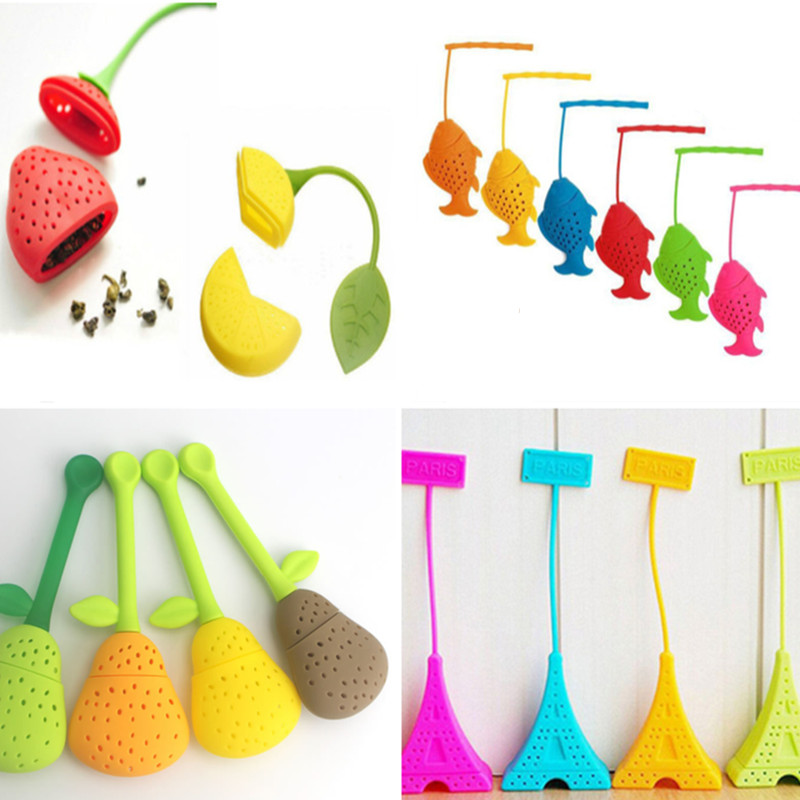 Tea Infuser Lemon Pear Rose Note Fish Tower Strainers FDA Approved Silicone Loose Leaf Herbal Spice Holder Blacktea Brewing Tool