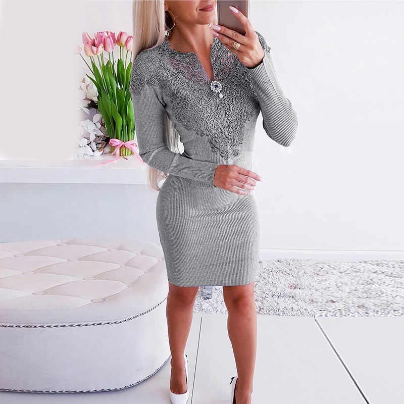 Элегантное серое платье женское осеннее облегающее лоскутное дизайнерское бриллиантовое платье с v-образным вырезом и длинным рукавом однотонное женское тонкое вечернее платье