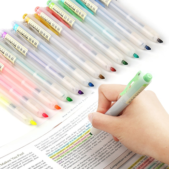 6Pcs/set Retractable Highlighters Refillable Pastel Highlighter Pen Fluorescence Markers for Journaling School Office Supplies