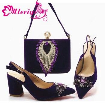 фиолетовые атласные туфли | Комплект из туфель и сумочки в африканском стиле; Цвет фиолетовый; Лидер продаж; женские итальянские туфли и сумочка в комплекте; вечерние с...