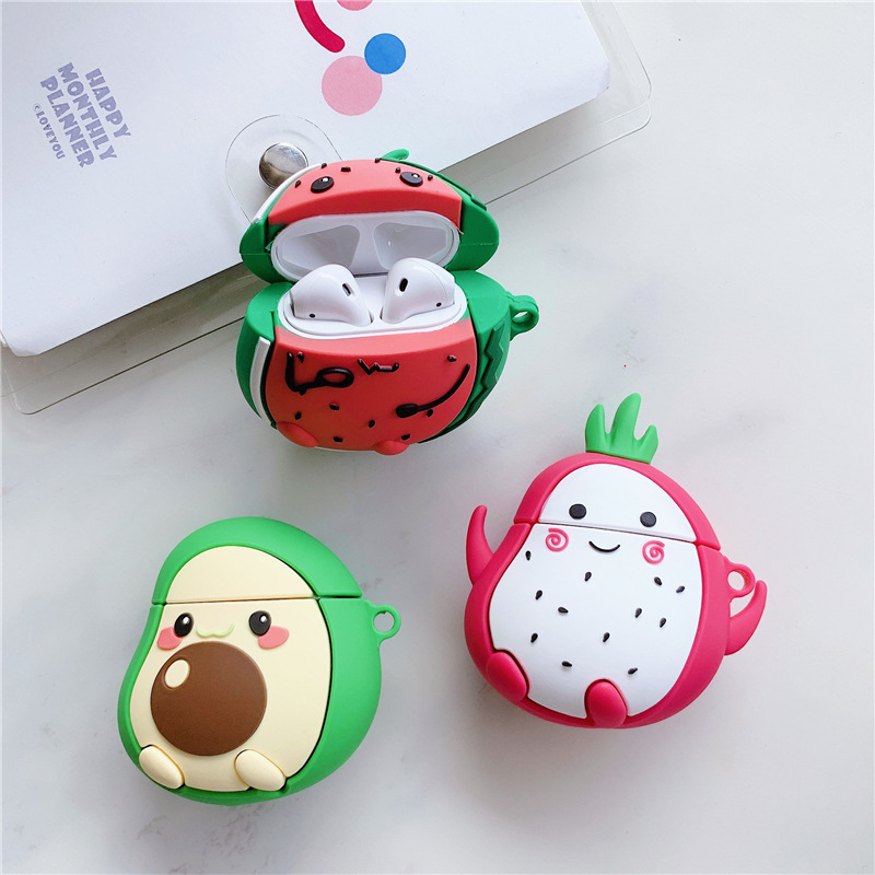 3D Fruit Earphone Case for Airpods Pro Case Silicone Cartoon Headphone/Earpods Cover for Apple Air Pods Pro 3 Case with Keychain
