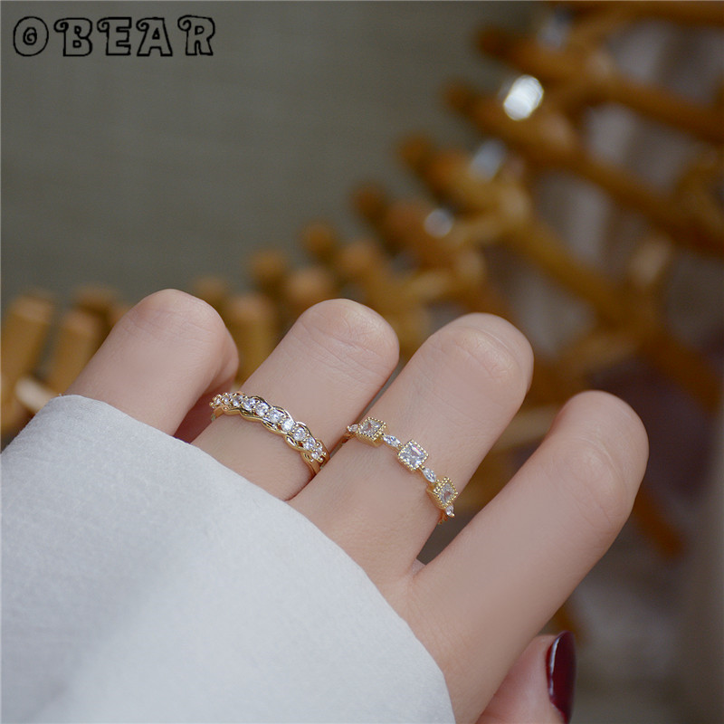OBEAR 14k Gold Micro-Set Zircon Square Open Ring for Women Simple Temperament Jewelry Accessories