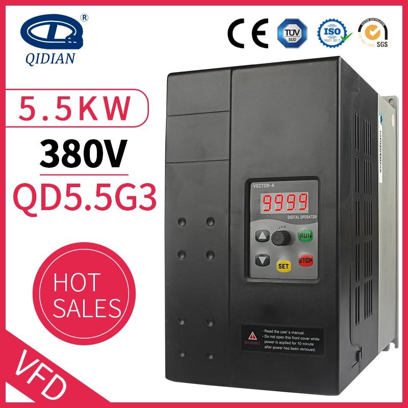 QD350 мини частотно-регулируемым приводом 3 фазы 380v вход выход 50/60Hz 5.5kw мощность переменной инвертор частоты для мотора Скорость контрольный п...