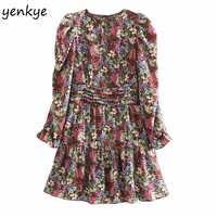 Fashion Women Prairie Chic Multicolor Floral Print Dress Long Sleeve O Neck A-line Mini Dress Autumn vestido OZZ9369