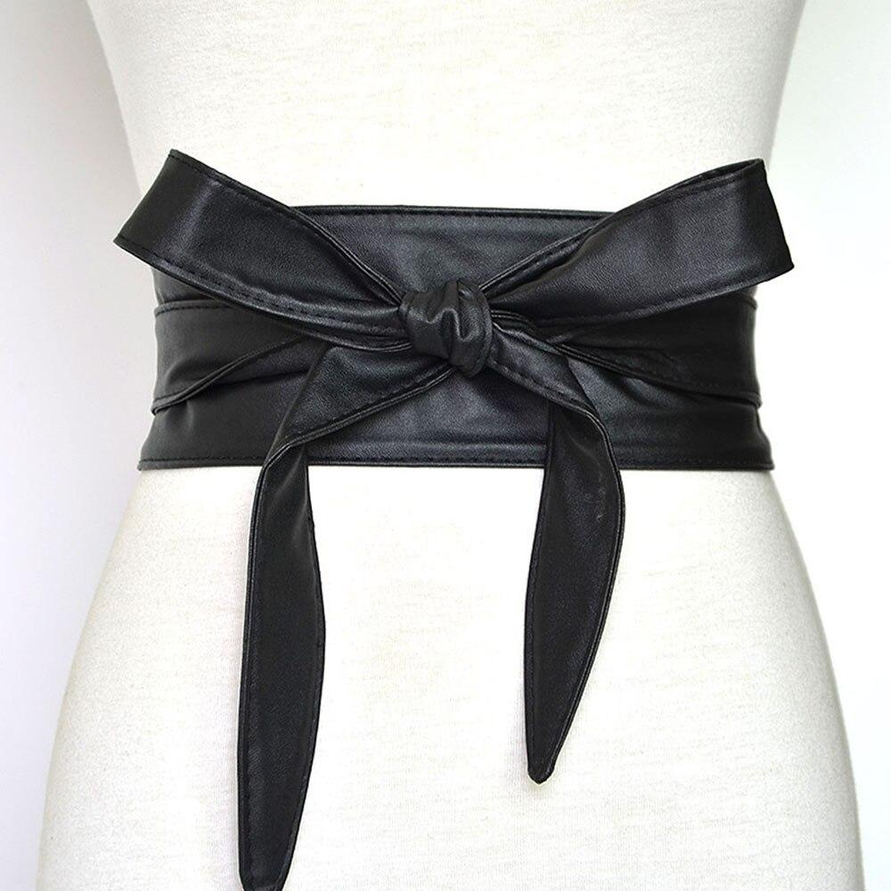 Fashion Black Color Women Belt Dress Waistband Long Adjustable Length Front Tie Lace Up Bowknot Waist Belts 2020 New ( 230*7cm)
