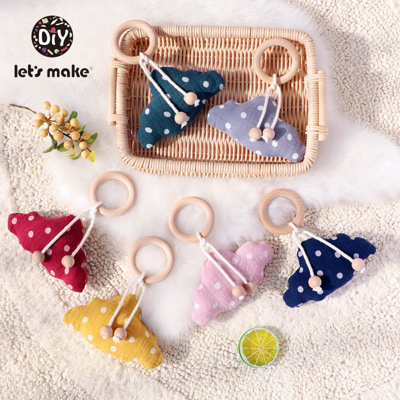 Let's Make Baby RattlesBPA Free Wood Ring Hanging Play Gym Infant Mobile Crib Stroller Game Cotton Clouds Baby Hanging Bed Bell