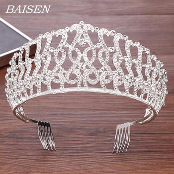 Luksusowy srebrny Rhinestone Diadem ślubna korona ślubna i tiary akcesoria do włosów głowa biżuteria królowa chluba ślubna korona tanie i dobre opinie BAISEN Ze stopu cynku Kobiety Crown PLANT TRENDY Hairwear Moda Metal Luxurious Silver Rhinestone Diadem Rhinestone Alloy