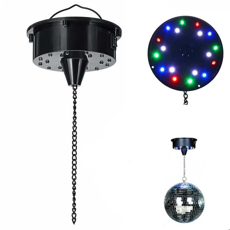 <font><b>18</b></font> LED Lights Glass Rotating Mirror Disco Ball Motor Sound Control Mirror Reflection Ball Hanging for Disco DJ Party Stage Light image