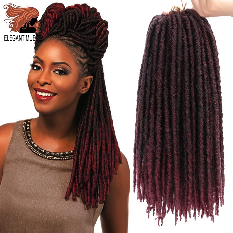 ELEGANT JUSES 20inch Soft Dreadlocks Crochet Braids Jumbo Hairstyle Ombre Color Synthetic Faux Locs Braiding Hair Extensions