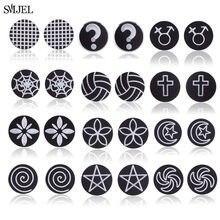 Boucles d'oreilles rondes en acier inoxydable pour hommes et femmes, bijoux gothiques, étoile, croix noire, cadeaux, bon marché