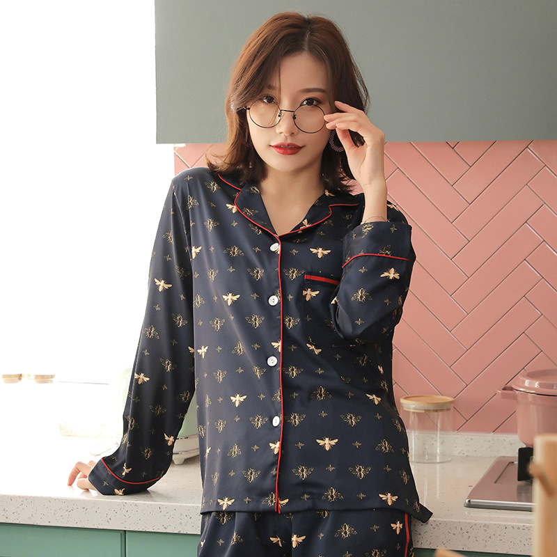 long sleeved home service suit sexy woman pajamas silk pajamas for women homewear pijamas women sexy women's nightie summer|Pajama Sets| - AliExpress