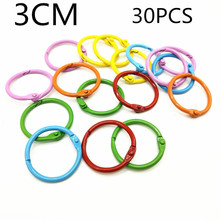30PCS30MM candy color paint opening loose-leaf ring clip, DIY iron color paint loose-leaf ring iron wire ring small book ring