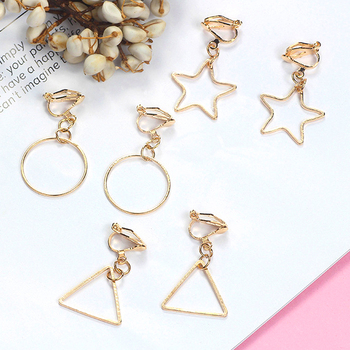 2019 Fashion Personality Earrings Clips Women's Earring Hollow Star Round Triangle Long Korean Earrings No Ear Holes Jewelry image