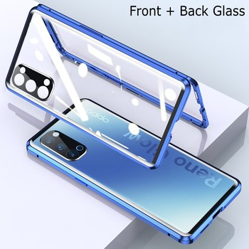 Magnetic Glass Case For OPPO Reno 3 4 Pro A9 A5 2020 Metal Camera Lens Double Side Tempered Cover Realme V5 X50