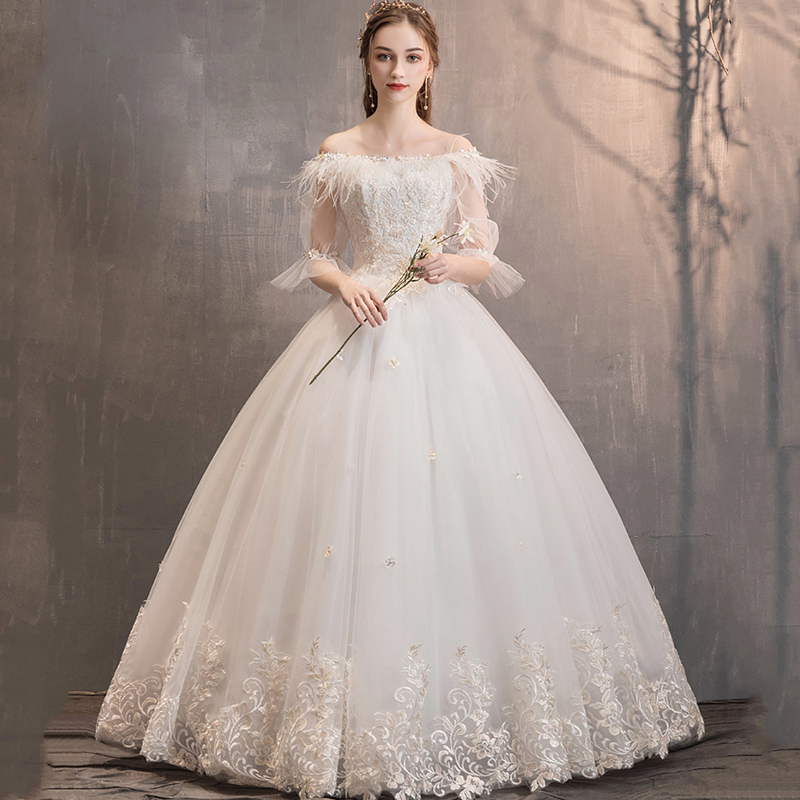 Elegant Lace Wedding Dresses Ball Gown Tassel Off Shoulder Appliques Tulle Feathers Illusion Formal Bride Gowns Robe De Mariee