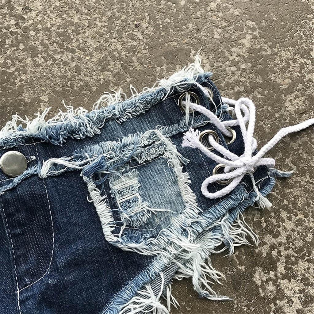 Hd7e6a217bf884167a39cd55eca25c1d2S 2019 womens skinny jeans Sexy high quality straight leg casual Bandage Button Denim Jeans Shorts Mini Hot Pants Elastic 19JUL26