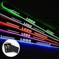 2pcs LED Door Sill For Hyundai Tucson 2015 2018 LED Streamed Light Scuff Plate Acrylic Battery Car Door Sill