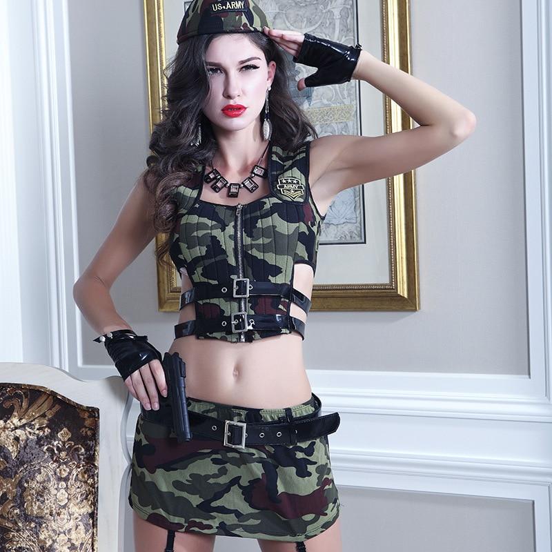 Camouflage Sexy Cosplay Kleidung Rolle-spielen Polizistin Soldat Kostüm Armee Uniform Halloween Party Military Instruktoren