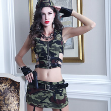 Camouflage Sexy Cosplay Clothing Role-playing Policewoman Soldier Costume Army Uniform Halloween Party Military Instructors