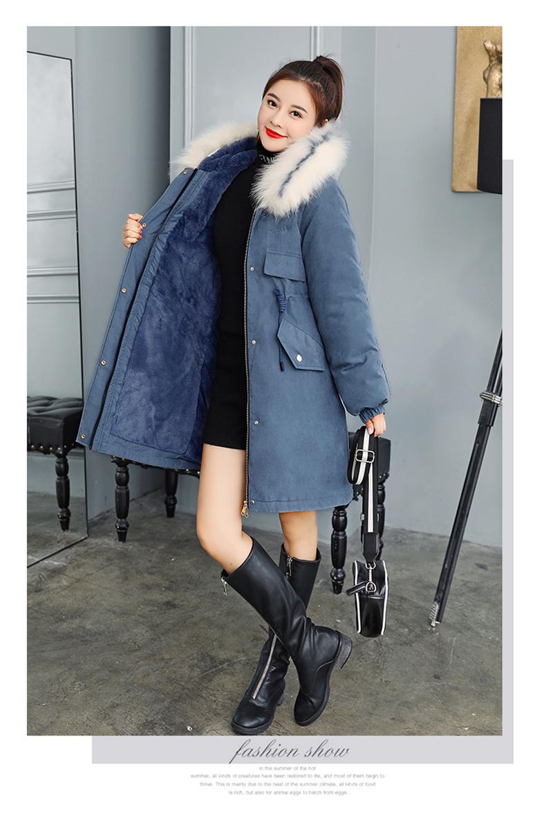 -30 градусов новый 2019 Для женщин зимняя куртка с капюшоном и меховой воротник Женская зимняя обувь Пальто Длинные парки с Меховая подкладка п... 25
