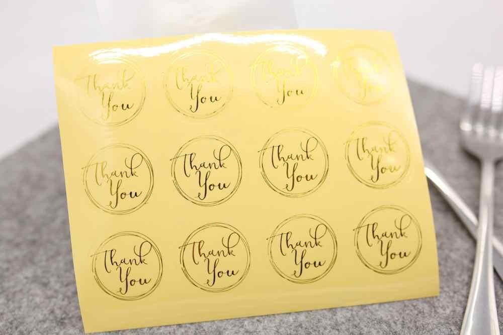 دائرة شفافة الذهبي شكرا لك تسميات ملصقا ، هدية ورقة تسميات ملصقات ، ملصقات الديكور ملصقات الختم 120 قطعة/الوحدة
