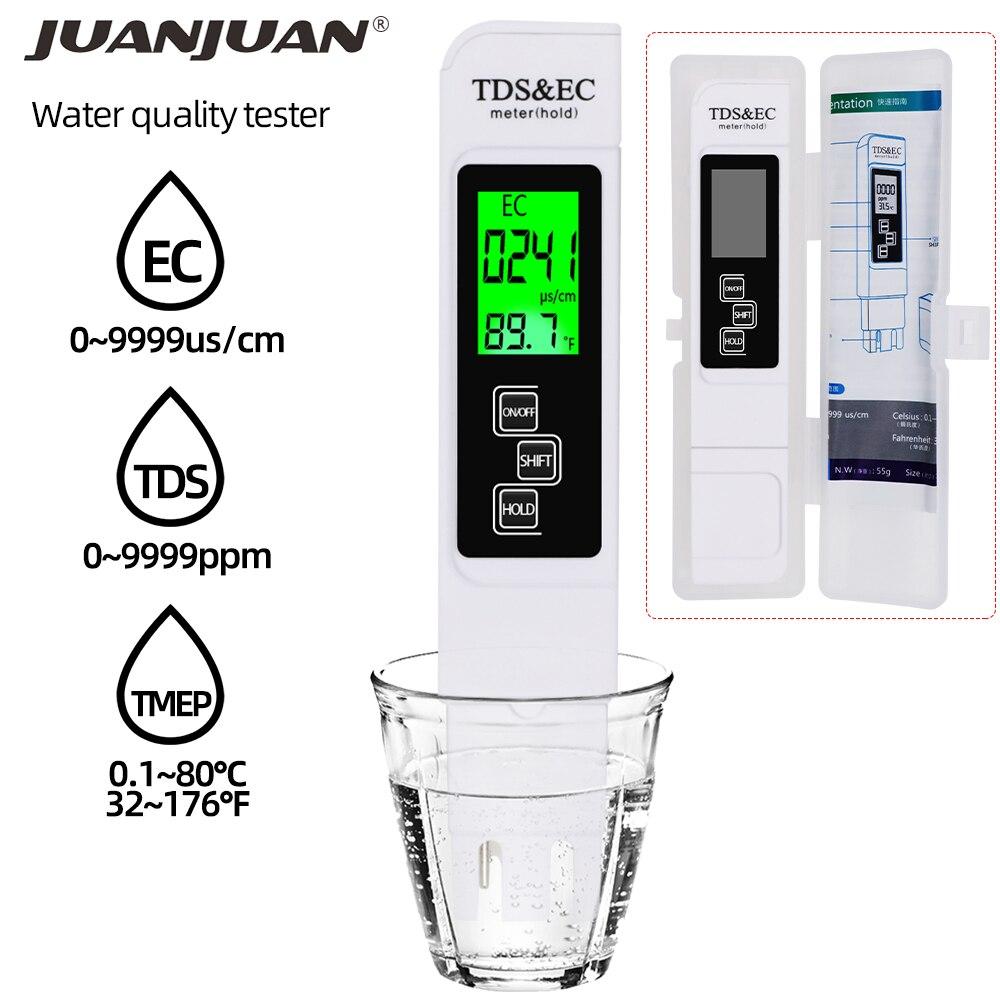 3 In1 TDS/Temp/EC Meter TDS & EC Tester 0-9990ppm Leitfähigkeit Detektor Wasser Qualität Monitor Reinheit Messen werkzeug für Pool 20% OFF