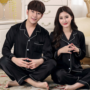 Image 5 - Новинка, пижамный комплект для пар, длинная и короткая Пижама на пуговицах, костюм для женщин и мужчин, домашняя одежда, Женский пижамный комплект