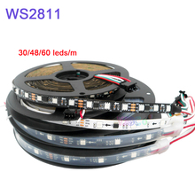 5m/lot WS2811 Smart Pixel Led Strip light;Addressable DC12V 30/48/60leds/m full color  WS2811 IC RGB led lamp Tape