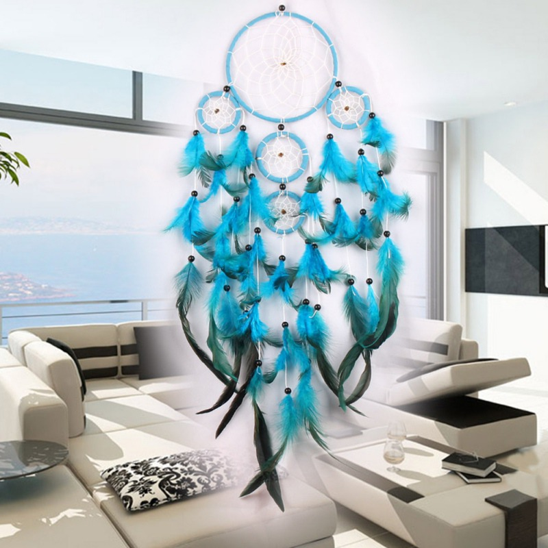 5 Rings Handmade Blue Dreamcatcher Wind Chimes Decorative Hanging Ornaments For Car Home Living Room Decor Dream Net Girls Gift