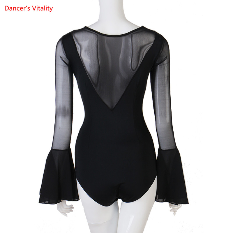 Sexy Latin Dance Top Women Long Sleeves Salsa Tango Cha Cha Samba Rumba Practice Bodysuit Ballroom Leotard Dancing Wear