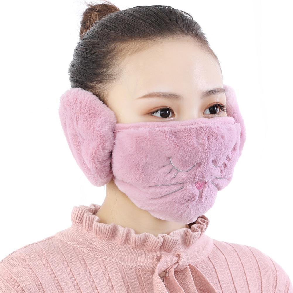 Women 2 In 1 Warm Mask Earmuffs Cartoon Cat Autumn Winter Thicken Plush Riding Outdoor Wear
