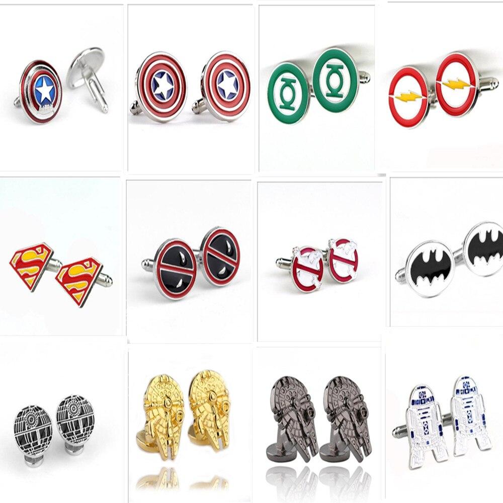 Mixed Superhero Cuff Link Superman Zinc Alloy Spider-Man Iron Man Captain America Cuff Buttons  Men Jewelry Cufflinks Wholesale