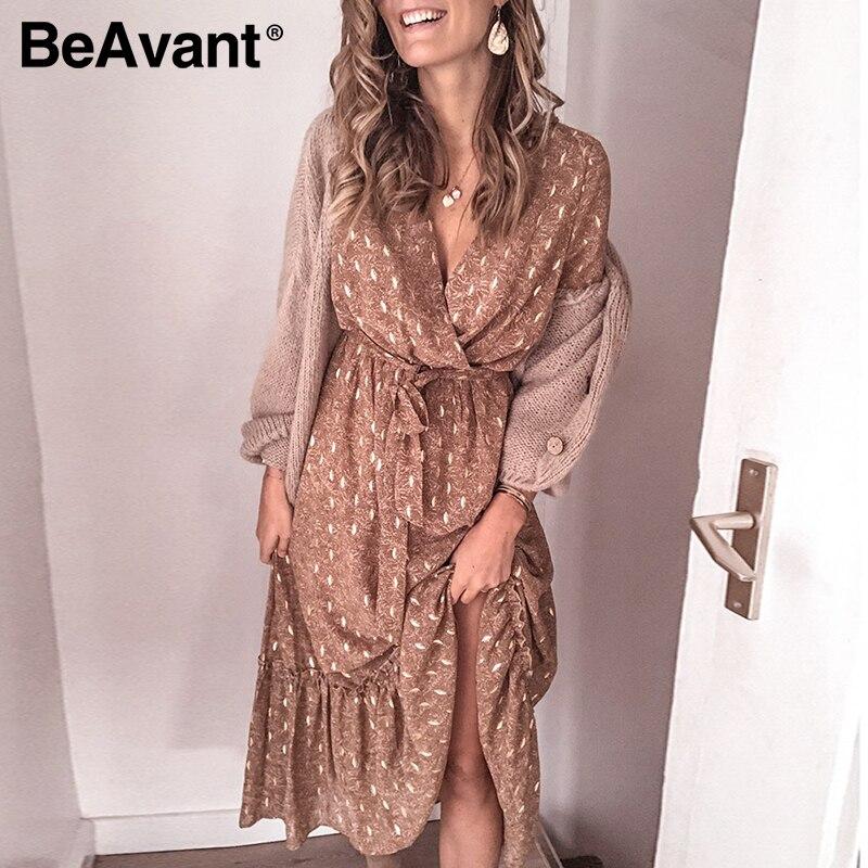 BeAvant Elegant Long Sleeve Printed Dress Women Spring Summer V-neck Ruffle Dresses Elegant Female High Waist Casual Dress Beach
