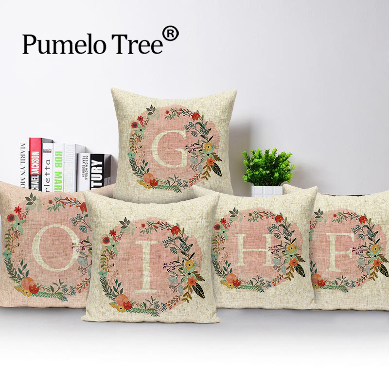 Pink letters Sofa Pillow Case Decorative Covers Cushion Cover  Linen