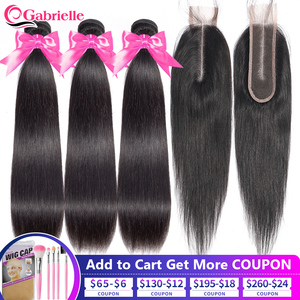 Brazilian Straight Human Hair Bundles with 2x6 Lace Closure 30 Inch Remy Stright Bundles with Closure Kim K Gabrielle