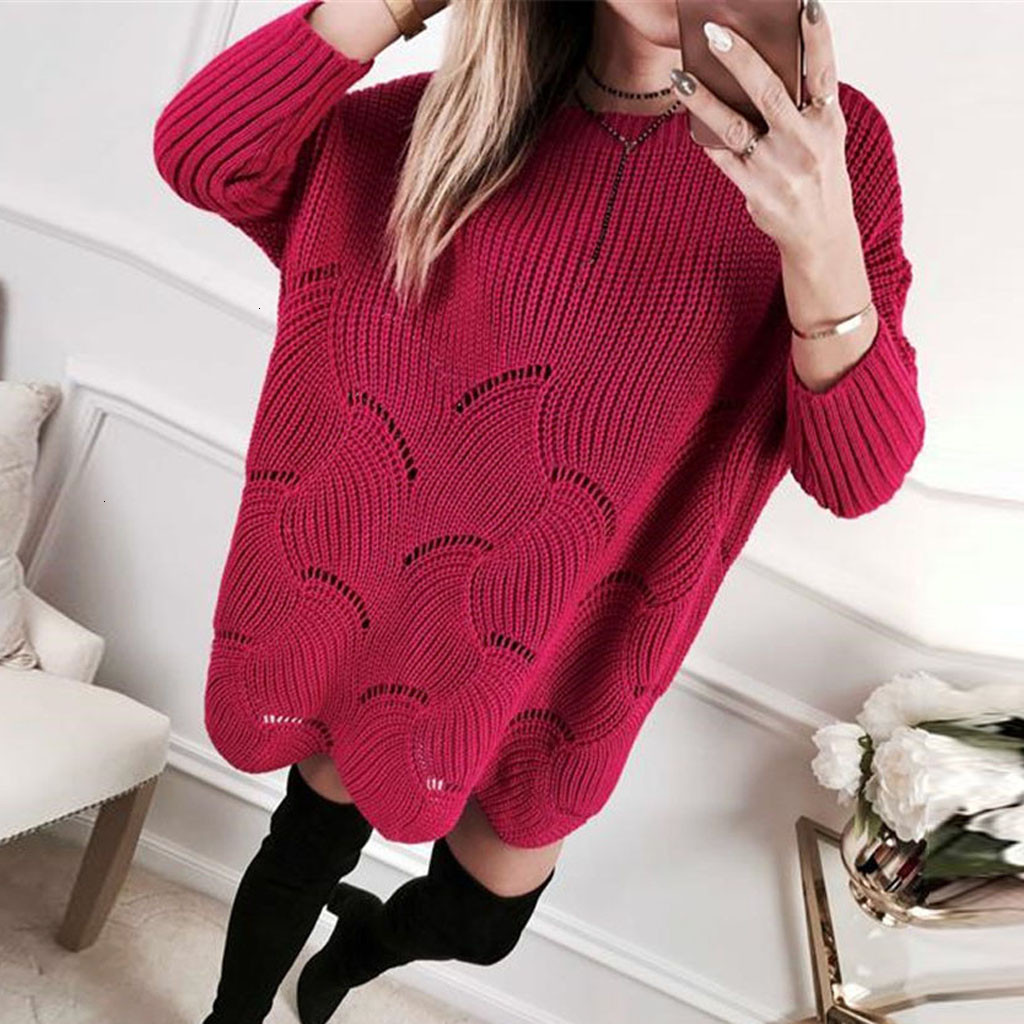 Sweaters Outwear Top Solid Pullover Long Sleeve Loose Hollow Knit Sweaters Jumper Tops Warm Knitted Femme Elasticity Pullovers