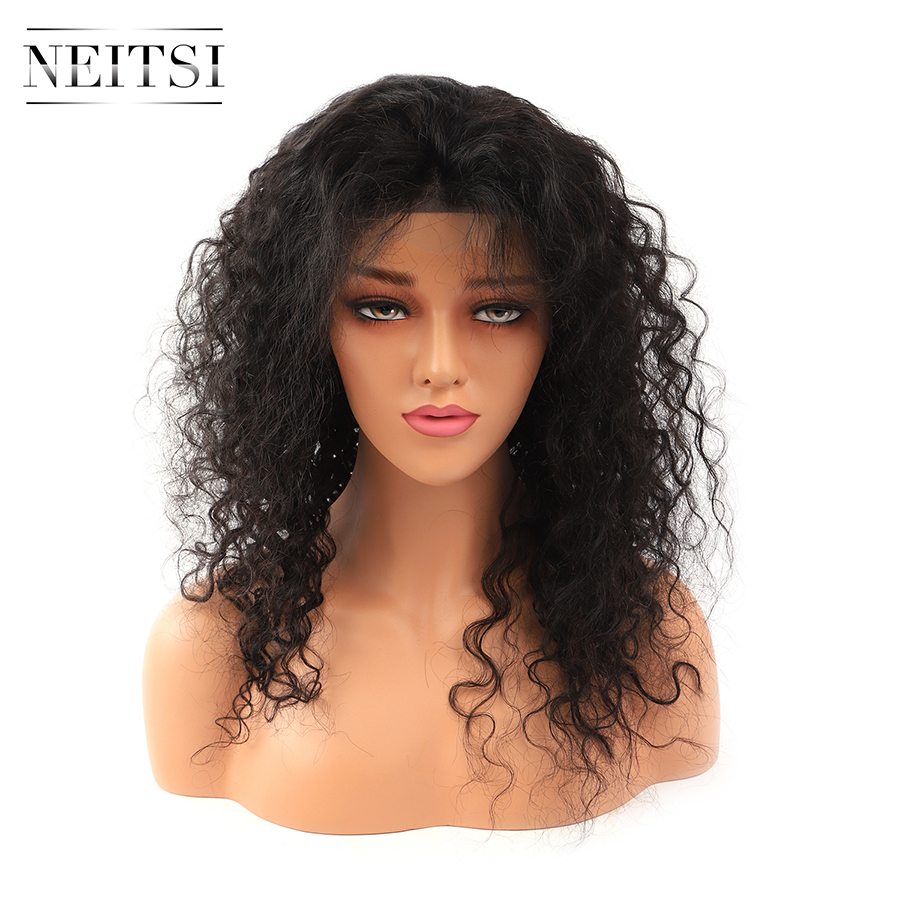 Neitsi Curly Lace Front Human Hair Wigs 100% Remy Hair Pre Plucked Natural Hairline 14