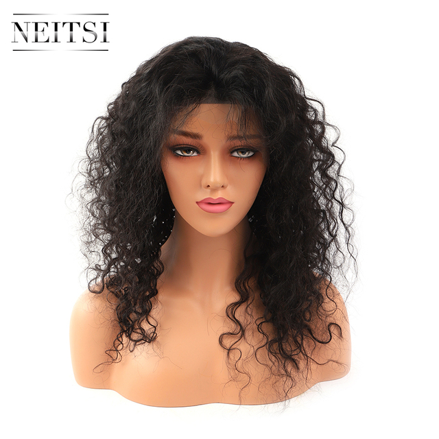 """Neitsi Lockige Spitze Front Menschliches Haar Perücken 100% Remy Haar Vor Gezupft Natürliche Haaransatz 14 """" 22"""" 150% dichte Mit Baby Haar"""