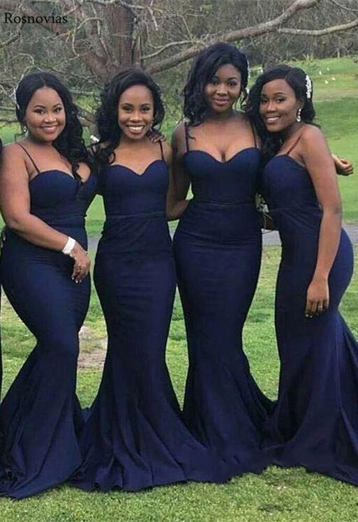 Africa Spaghetti Strap Mermaid   Bridesmaids     Dresses   2019 Sweetheart Sweep Train Maid of Honor Wedding Guest Gowns Plus Size