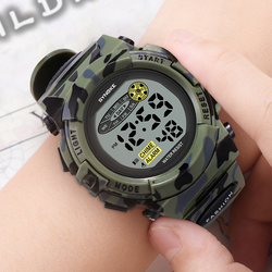 SYNOKE Children Watches Sports Fashion Military Waterproof LED Colorful Lights Kids Watch Camouflage Boys Student Watch Relogio