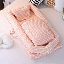 Переносная детская кроватка для новорожденных, мягкая хлопковая складная дорожная кровать для малышей, Детская переносная кроватка, детская кровать-гнездо, подушка для колыбели, одеяло